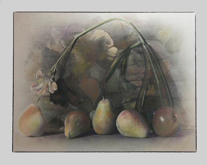 Five Pears and Peruvian Lily (SOLD)