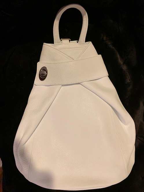GENUINE LEATHER - WHITE TRI-SHAPED BACKPACK PURSE