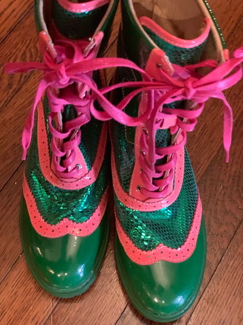 PINK & GREEN LEATHER BOOTS