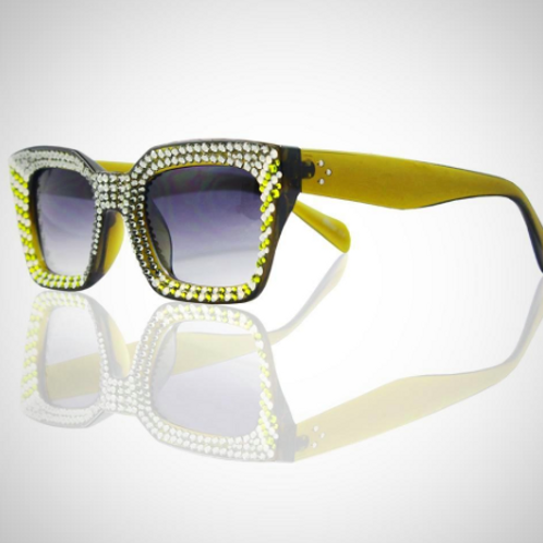 GL1481 RED/SILVER CRYSTAL SUNGLASSES