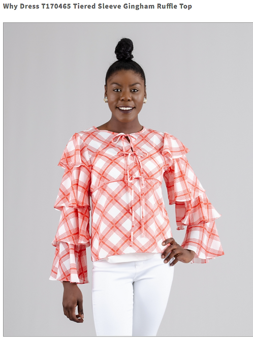 TIERED SLEEVE GINGHAM RUFFLE TOP