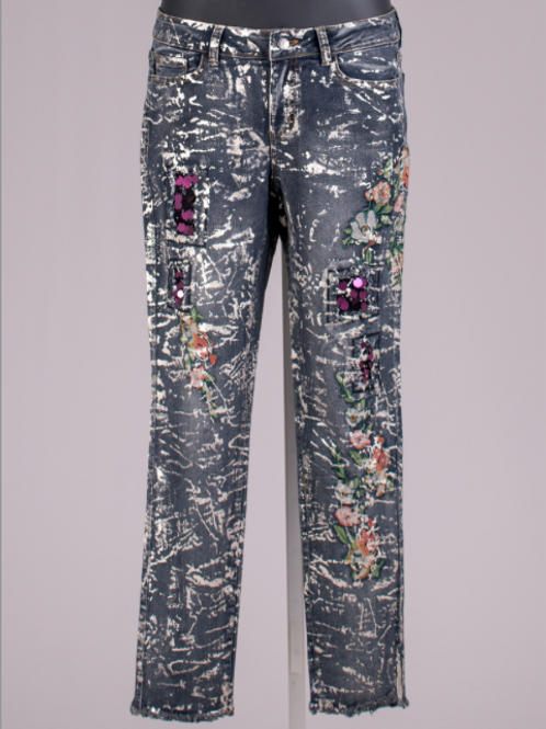 SPLATTERED PAINT & EMBROIDERED JEANS