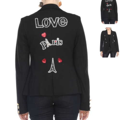 I LOVE PARIS DOUBLE BREASTED JACKET