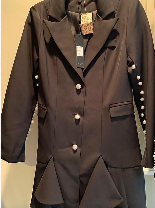 Black pearl skirted blazer