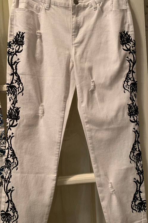 WHITE DENIM JEANS WITH BLACK ACCENTS