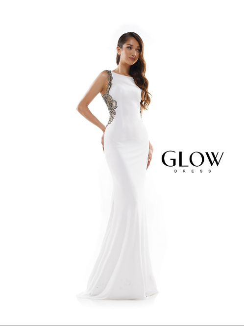 BEADED SIDE AND BACK JERSEY GOWN