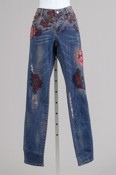 DENIM JEANS WITH ROSE FLOWERED ACCENTS