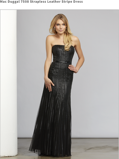 Mac Duggal Strapless Leather Stripe Dress