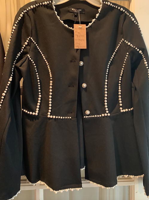 Black pearl embellished blazer