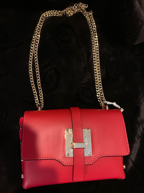 GENUINE LEATHER - RED LEATHER W/GOLD CHAIN HANDBAG