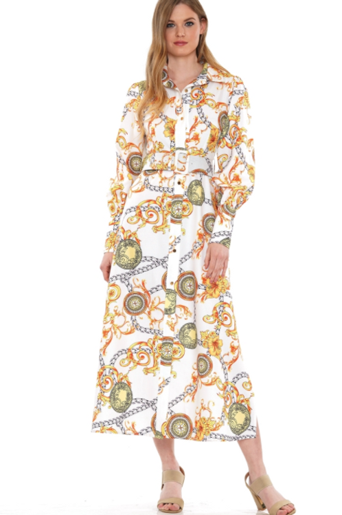 PAISLEY PRINT BELTED DRESS
