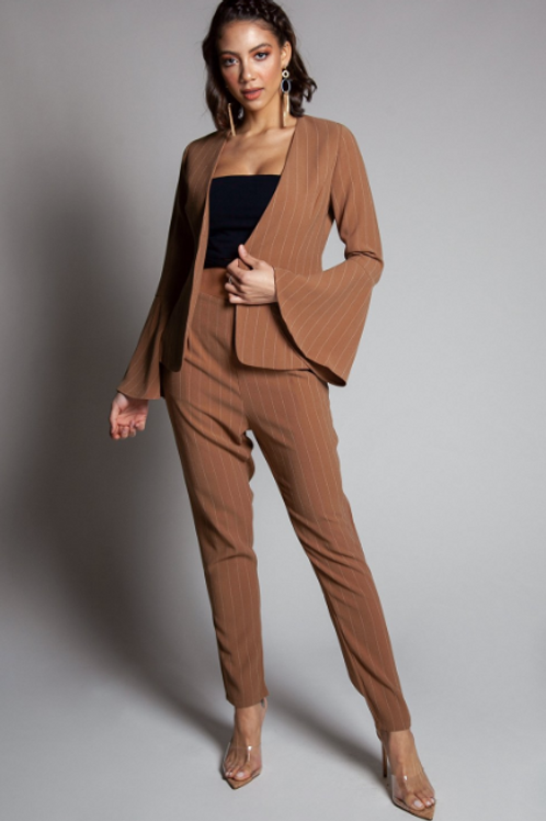 STRIPPED TWO-PIECE PANT SUIT
