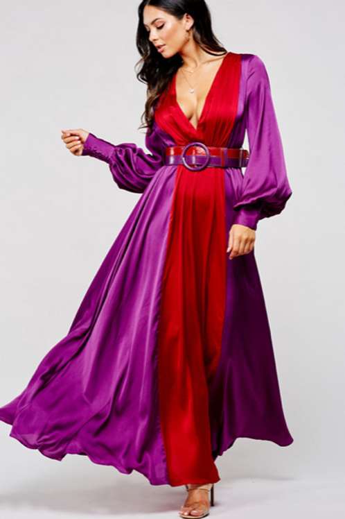 MULTI-COLORED FLOWING BELTED MIDI-DRESS