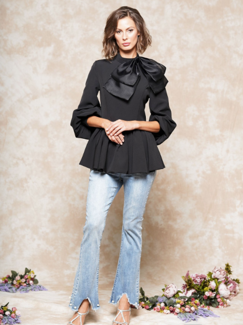 L/S BOW NECK TOP