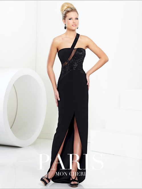 ONE SHOULDER SEQUIN ILLUSION GOWN