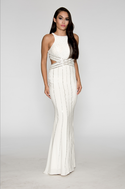BEADED OPEN BACK GOWN