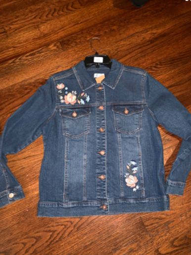 Denim Jacket w/Flowered Applicade