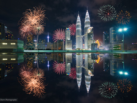 Kuala Lumpur Twin Tower Reflection With Firework