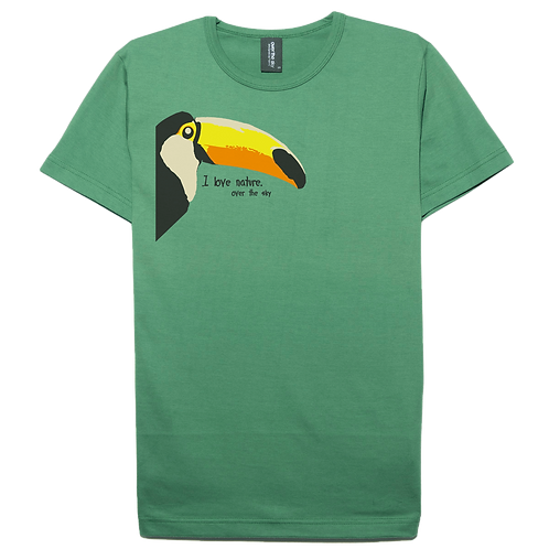 Toucan bird design moss color cotton T-shirt