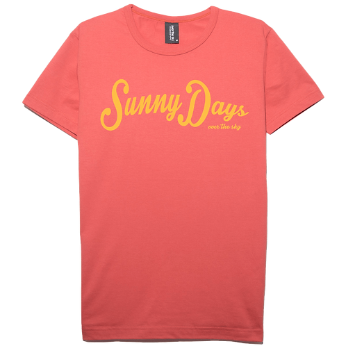 Sunny Days design salmon color cotton T-shirt