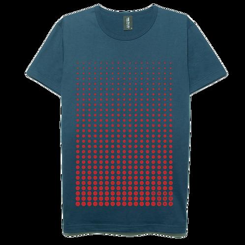 Dot gradation design navy blue color cotton T-shirt
