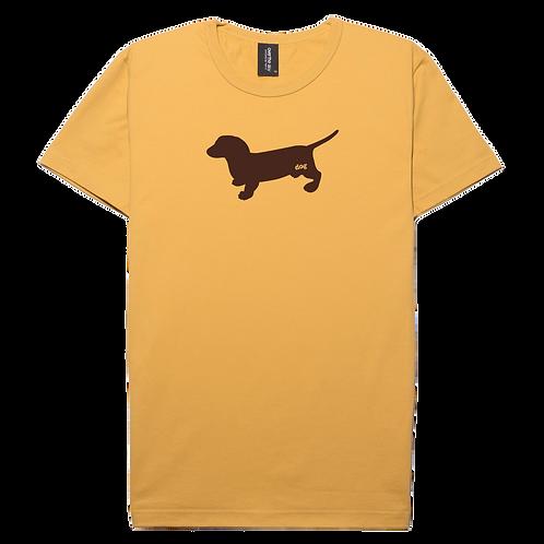 Dachshund dog design mustard color cotton T-shirt