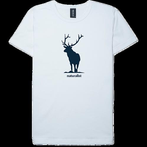 Deer design white color cotton T-shirt