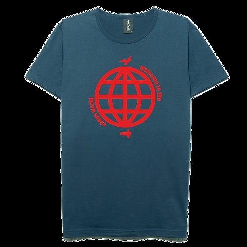 Chaos world design navy blue color cotton T-shirt