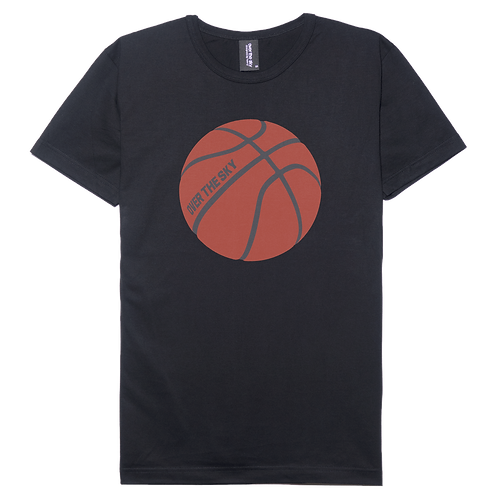 Basketball design black color cotton T-shirt