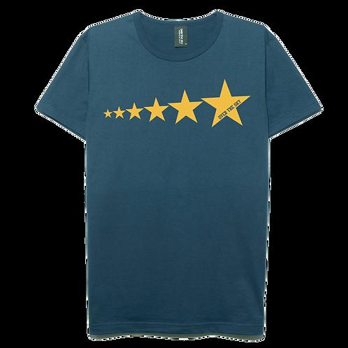 Star line design navy blue color cotton T-shirt