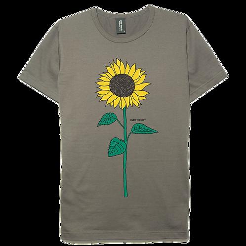 Sunflower design gray color cotton T-shirt