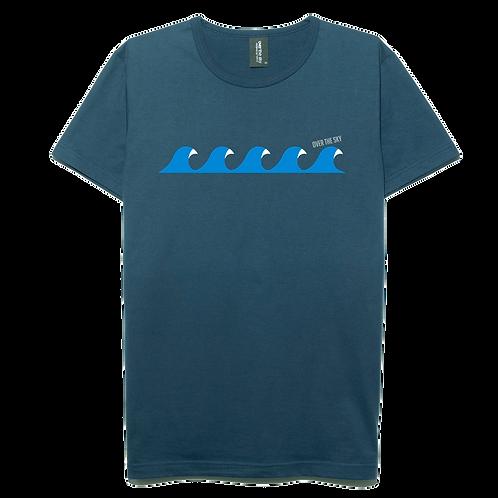 Wave surfing design navy blue color cotton T-shirt