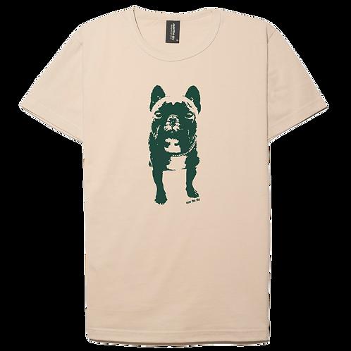 French Bulldog design cream color cotton T-shirt