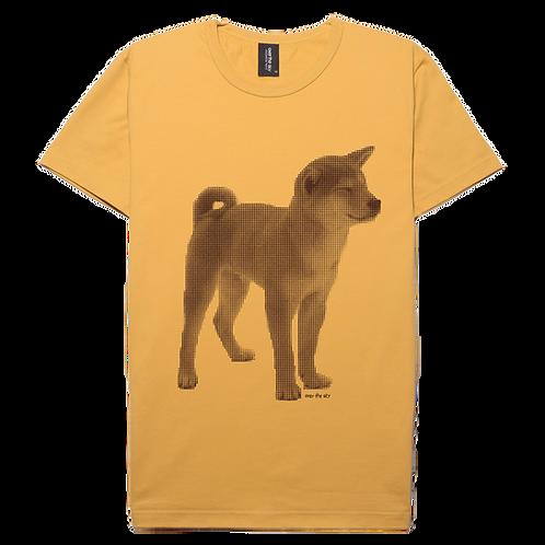 Shiba inu dog design  mustard color cotton T-shirt