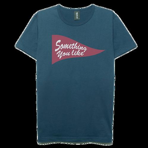 Something flag design navy blue color cotton T-shirt