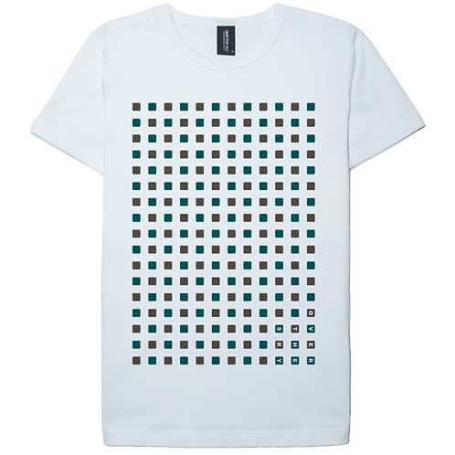 Cubic design green printed white color cotton T-shirt