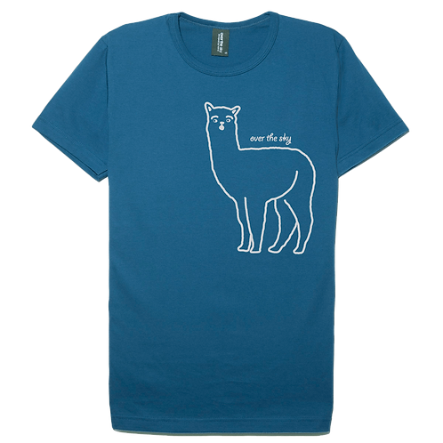 Alpaca design steel blue color cotton T-shirt