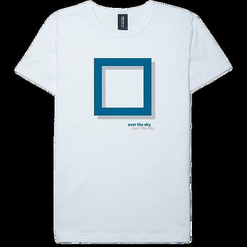 3D square design white color cotton T-shirt