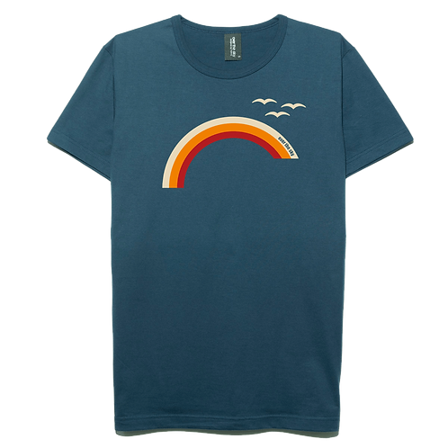 Rainbow design navy blue color cotton T-shirt