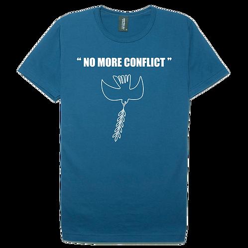 No more conflict design steel blue color cotton T-shirt