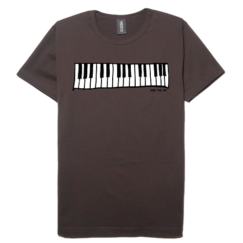 Piano Keyboard design brown color cotton T-shirt