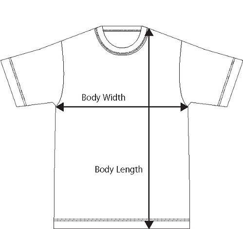 Tshirts image for size chart