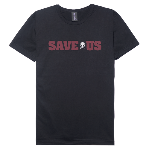 Demo Save Us design black color cotton T-shirt