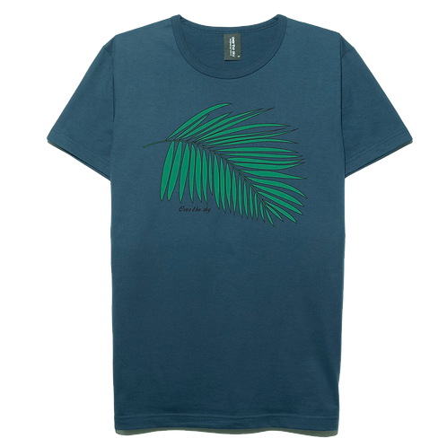 Jungle leaf design navy blue color cotton T-shirt