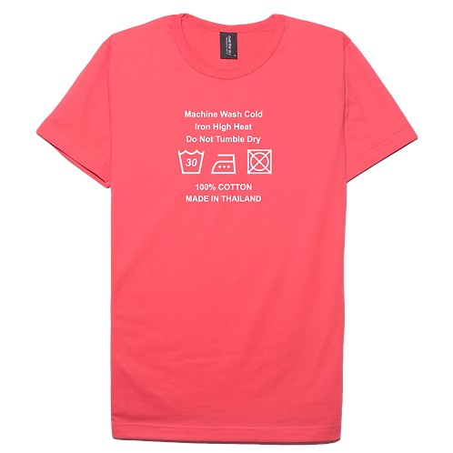 Care label made in Thailand design pink color cotton T-shirt