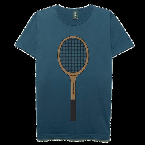 Vintage Tennis Racket design navy blue color cotton T-shirt