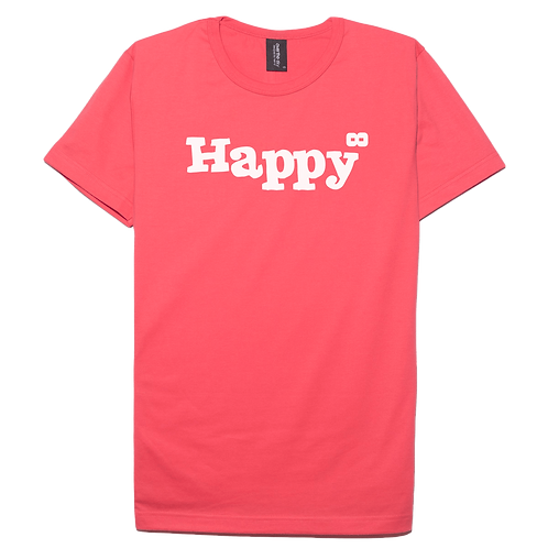 Happy design pink color cotton T-shirt