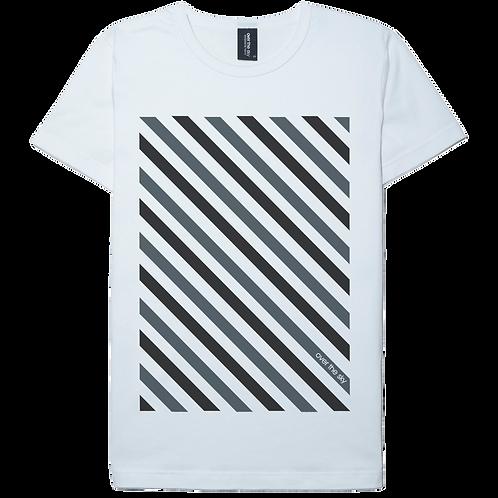 Stripe design gray printed white color cotton T-shirt
