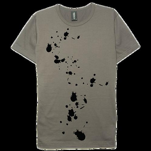 Splash paint design gray color cotton T-shirt