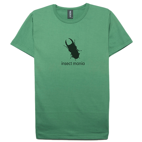 Insect stag beetle design moss color cotton T-shirt